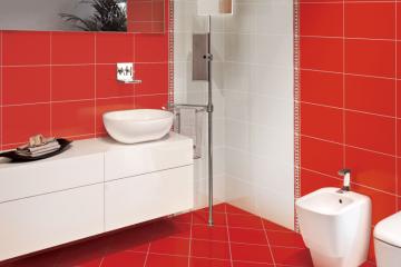 modele de gresie si faianta pentru baie colectia cromatic alb cu rosu