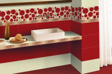 faianta in baie alb cu rosu girotondo