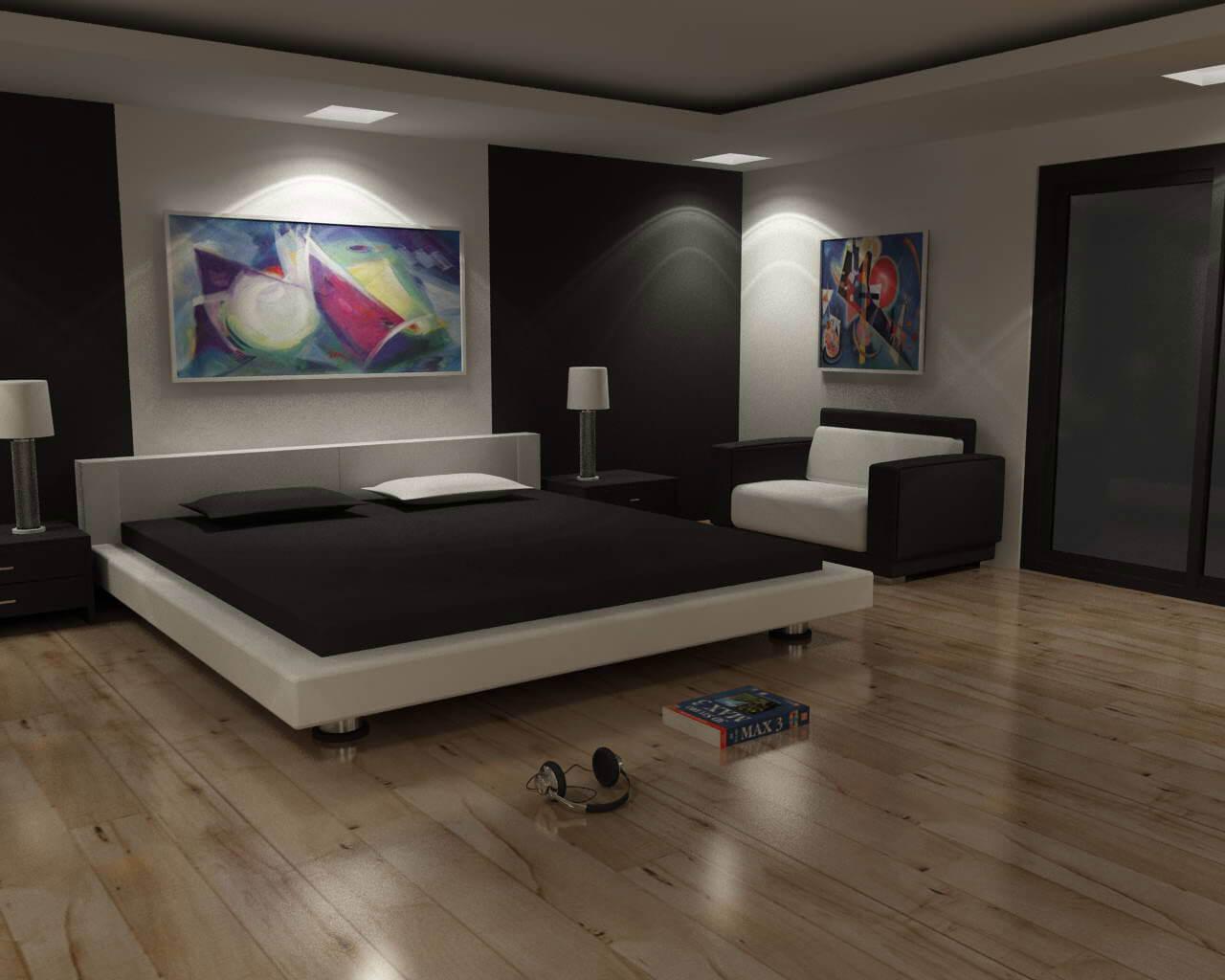 alb negru dormitor combinatii
