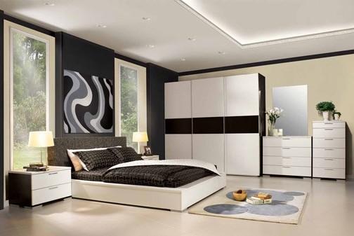 dormitor maro cu alb mare
