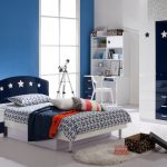 dormitor alb albastru
