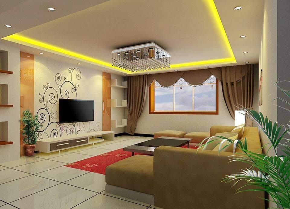 Living room modern cu gresie mare si scafa din rigips