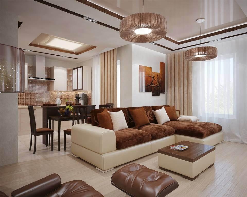 Sufragerie crem cu maro moderna