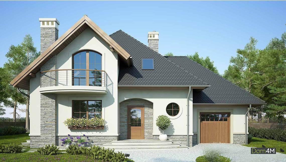 Proiect casa cu mansarda si garaj in stil mediteranean for Proiecte case cu garaj si mansarda